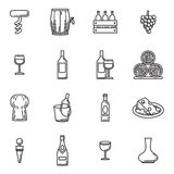 Vector icons set of wine stock illustration