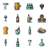 Vector icons set of wine royalty free illustration