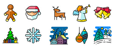 Vector  icons set with winter and Christmas holiday Royalty Free Stock Photo