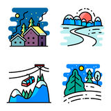 Vector  icons set with winter cute landscapes Stock Photography