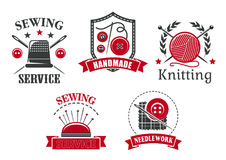 Vector icons of sewing knitting needlework service. Sewing service or atelier tailoring salon icons set. Vector isolated symbols of sewing needlework pins in Royalty Free Stock Photos