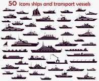 50 vector icons  ships. 50 vector icons of marine vessels, motorboats, yachts and cargo ships Royalty Free Stock Photos