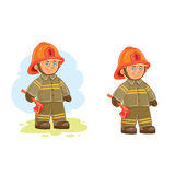 Vector icons of small child firefighter and his machine on a string Royalty Free Stock Photos