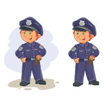 Vector icons of small child police man. Royalty Free Stock Photo