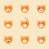 Vector Icons of Smiley Cat Faces Royalty Free Stock Images