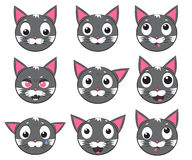 Vector icons of smiley cat faces. Smiley cat faces. Set of vector icons Royalty Free Stock Photo
