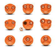 Vector icons of smiley faces. Authors illustration in vector Stock Image