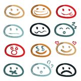 Vector icons of smiley faces. Royalty Free Stock Image