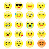 Vector icons of smiley faces emotion Cartoon Stock Photo