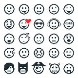 Vector icons of smiley faces. Pixel art. Royalty Free Stock Images
