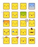 Vector icons of smiley faces. Signs for emotions Royalty Free Stock Photos