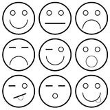 Vector icons of smiley faces vector illustration