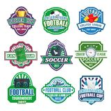 Vector icons for soccer club football league team. Soccer college league cup or football fan club championship icons set. Vector badges of soccer ball at arena Royalty Free Stock Photography