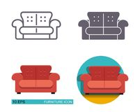Vector icons of the sofa. Royalty Free Stock Photos