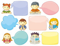 Cute Personages With Speech Bubbles Stock Image