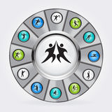 Vector icons of sport. In the circle Royalty Free Stock Image