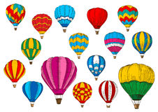 Vector icons sport sketch patterned air balloons Stock Image