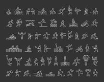 Vector icons of sportsmen. Line figure athletes. Stock Photo