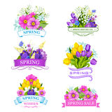 Vector icons of spring flowers for sale labels Stock Images