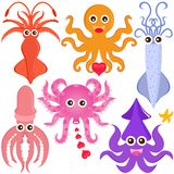 Vector Icons : Squid, Cuttlefish, Jellyfish Stock Image