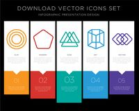 Circle infographics design icon vector. 5 vector icons such as Circle, Pentagon, Triangle, Cylinder, Square for infographic, layout, annual report, pixel perfect Stock Photo