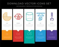 Circle infographics design icon vector. 5 vector icons such as Circle, Pyramid, Cylinder, 3d cube, Tooth for infographic, layout, annual report, pixel perfect Stock Image