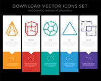 Cone infographics design icon vector. 5 vector icons such as Cone, Cylinder, Dodecahedron, Triangle, Intersection for infographic, layout, annual report, pixel Stock Photography
