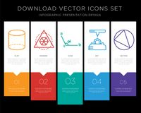 Cylinder infographics design icon vector. 5 vector icons such as Cylinder, Triangle, Angle, 3d printer, Circle for infographic, layout, annual report, pixel Stock Photography