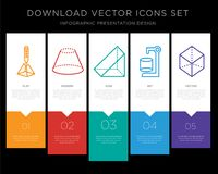 3d cube infographics design icon vector. 5 vector icons such as 3d cube, Cone, Prism, Cylinder, Cube for infographic, layout, annual report, pixel perfect icon Royalty Free Stock Photo