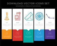 3d cube infographics design icon vector. 5 vector icons such as 3d cube, Cylinder, Prism, Circles, Angle for infographic, layout, annual report, pixel perfect Royalty Free Stock Photo