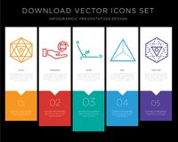 Octahedron infographics design icon vector. 5 vector icons such as Octahedron, Pyramid, Angle, Octahedron for infographic, layout, annual report, pixel perfect Stock Images