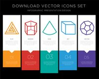 Triangle infographics design icon vector. 5 vector icons such as Triangle, Cylinder, Cone, Cube, Dodecahedron for infographic, layout, annual report, pixel Stock Image