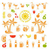Vector icons of summer drinks Royalty Free Stock Photo