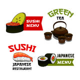 Vector icons of sushi for Japanese restaurant menu Stock Images