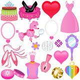Vector Icons : Sweet Pink Princess Set For Diva Stock Image