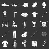 Vector icons and symbols of golf on a dark background. Stock Photography
