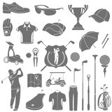 Vector icons and symbols of golf Royalty Free Stock Image