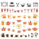 Vector icons of tableware Royalty Free Stock Photo