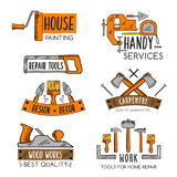 Vector icons template of home repair handy service. Home repair or handy service vector icons templates set of construction and carpentry or house finishing work royalty free illustration