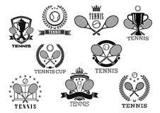 Vector icons for tennis club tournament awards. Tennis club isolated vector icons of of tennis ball and rackets, victory laurel wreath ribbon and winner cup vector illustration