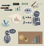 Vector of Icons with Text Clouds and Charts Royalty Free Stock Photo