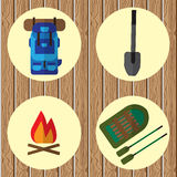 Vector icons on the theme of the campaign. On wooden background Stock Image