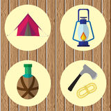 Vector icons on the theme of the campaign. On wooden background Stock Images