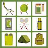 Vector icons on the theme of tourism Stock Image