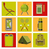 Vector icons on the theme of tourism Stock Images