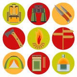 Vector icons on the theme of tourism Stock Photo