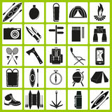 Vector icons on the theme of tourism Royalty Free Stock Photos