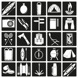 Vector icons on the theme of tourism Royalty Free Stock Images