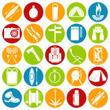 Vector icons on the theme of tourism Royalty Free Stock Image