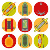 Vector icons on the theme of water tourism Royalty Free Stock Images